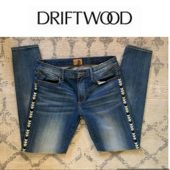 Driftwood Jeans Marilyn Geo Embroidered Skinny 27